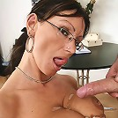 Pandora sucking on cock then gets her melons and twat fucked