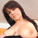 Anna plays with her giant juggs and tits fucking a big dildo